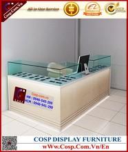 Modern natural wood glass store mobile phone display cabinet/display showcase kiosk