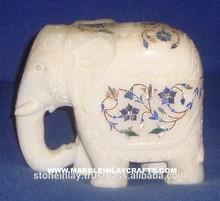 White Stone Inlay Marble Elephant