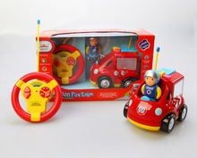 "4"" Cartoon R/C Fire Engine Truck Toy for Toddlers"