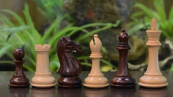 """Fierce Knight Staunton Series Wooden Hand Crafted Chess Pieces in Rose & Box Wood - 4.1"""" King (SKU: M0059) FREE SHIPPING"""