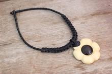 Thai Wood Flower Pendent & Black Woven Wax Cotton Necklace - White