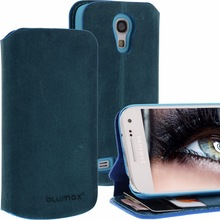 Geniune Leather Lucca Bookstyle case for Samsung Galaxy S4 Mini i9190 i9195 Antic Blue Cow Leather