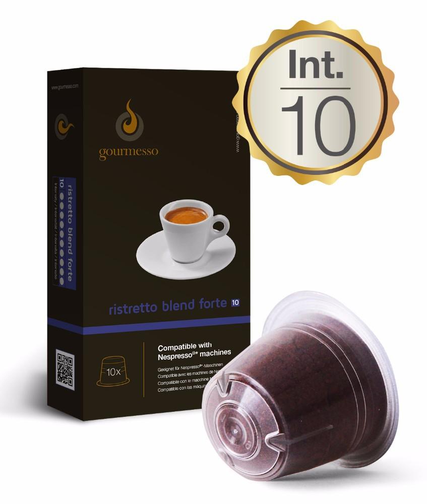 Capsules For Nespresso Machines 10 X Ristretto Blend Forte By Gourmesso  Bu -> Nespresso Ristretto