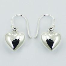 925 Sterling Silver Puffed Hearts Dangle Earrings