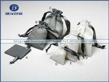 nature handmade mini linen bags with silk ribbon
