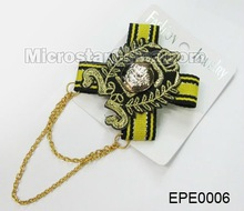 New bowknot shape chain with metal cabochon embroidered pin badges
