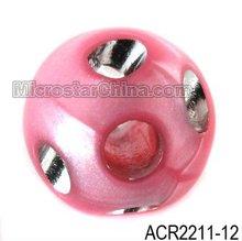 Pink pearlized imitation rhinestone acrylic round beads