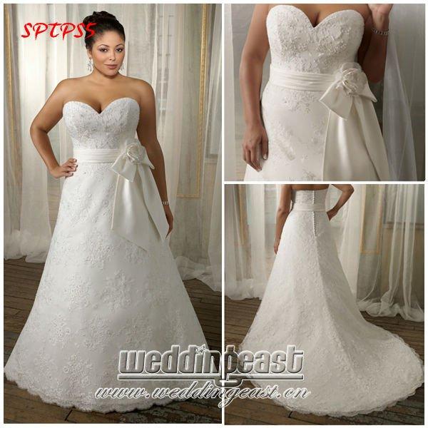 Vintage Embroidered Lace Plus Size Wedding Dress SPTPS5