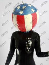 Latex football mask, US flag pattern