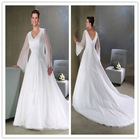 2011 The Gentlewomanly V-Neck Long Sleeves A-Line Sleeveless Chapel Train Beaded Appliqued Satin Plus Size Wedding Dresses
