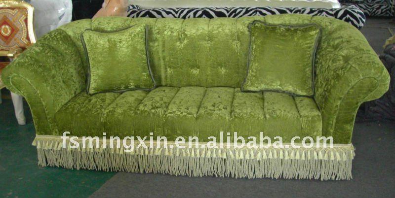 bild wohnzimmer grün:Wohnzimmer-Möbel-Gewebe-Chesterfield-Sofa im Grün mit Franse-Spitze