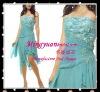 Asymmetrical Chiffon appliqued sleeveless blue charming cocktail dress