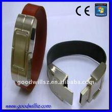 OEM 2GB/4GB promotional leather wristband /bracelet usb flash drive