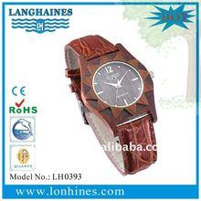 luxury rose gold wooden case leather strap wooden watch LH0393