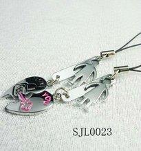 broken heart shaped lover mobile phone chain for gift