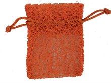 orange mesh pattern drawstring gift bag