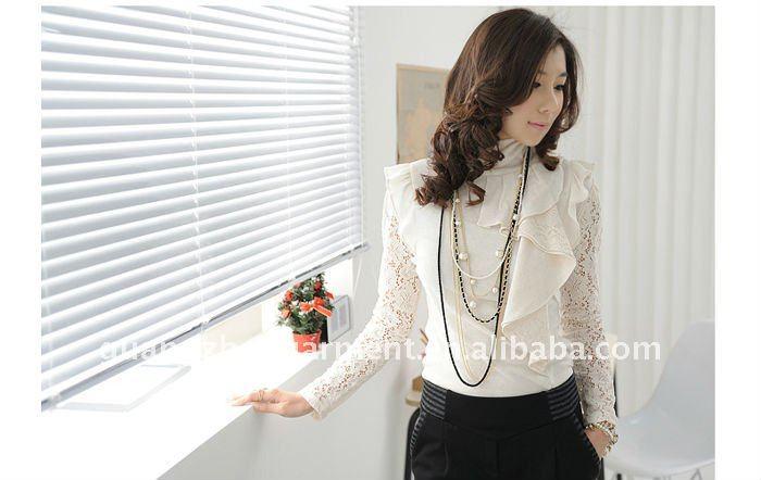 Para mujer coreana otoño nuevo estilo del cordón de la blusa ropa 2012