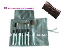 7 pcs makeup brushes plus soft PU belt bag with setting belt