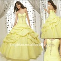 Venta caliente!! Tafet&aacute;n de color amarillo con cuentas vestido de quincea&ntilde;era vq71
