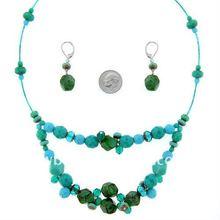 fashion cheap handmade plastic turquoise beaded necklace set jewelry /nice jewellery set wholesale