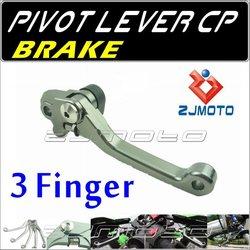 ZJMOTO Dirt bike Motorcycle 3-Finger Pivot brake Lever Adjustable aluminum CNC lever For YAMAHA YZ125/250 2001-2007