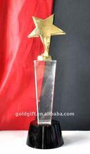 Crystal metal star trophy with black base