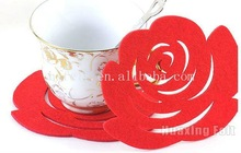 laser cut red rose Felt Coaster for sweety wedding