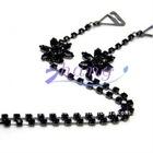 Black diamond flower bra straps