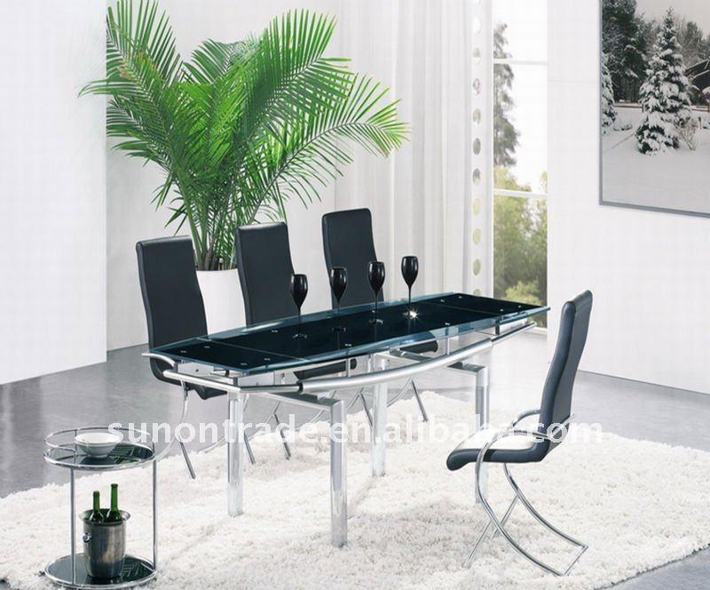 2012 moderno de vidrio ampliable 8 plazas mesa de comedor