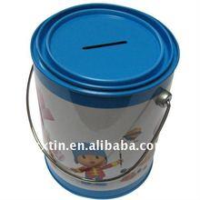 Handle tin case for money bank