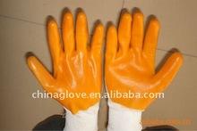 nylon liner yellow Nitrile coated Work Gloves -Knit Wrist