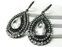 wholesale cheap costume Crystal stud large metal tear earring