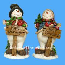 2012 resin christmas snowman with tag