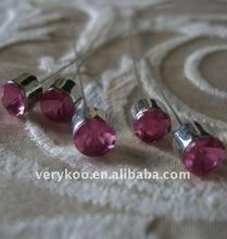 3 inch Fuchsia Pink Round Crystal Bouquet Corsage Gem Pins FCK-11807