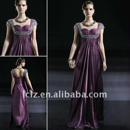 Classic purple beading empire style Wedding gowns C56639 hotsale