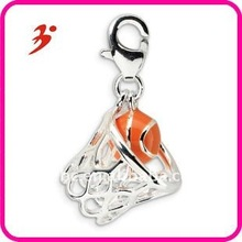 fashion cheap silver plating zinc alloy orange basketball in net pendants jewelry factory in china