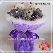 sheep and wolf plush bouquet art handicraft