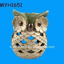 2011 new fashion ceramic owl tea light holder