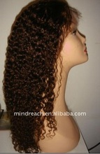 Fashionable Highligted Color Curly 100% human hair lace wig with fast delivery, accepty paypal