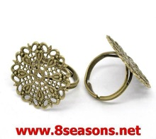 10 Silver Plated Adjustable Wired Rings 17.5mm(US 7)