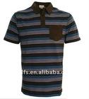 blue brown stripe polo shirt