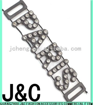 black color letter rhinestone plastic buckle