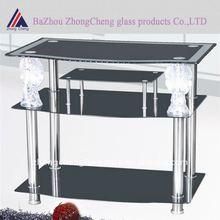 modern black statue glass tv stand