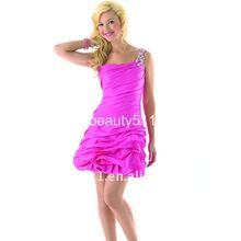 One Shoulder Ruffling Short/Mini Knee Length Taffeta Cocktail Dress 3104QL