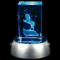 unicorn 3d laser engraved crystal block