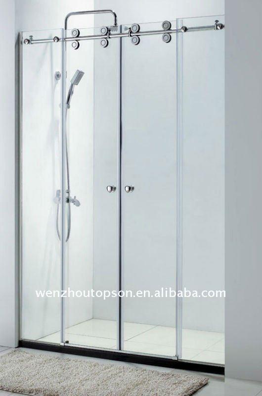 Cloison de verre porte coulissante portes des salle de bains id du produit 510717881 french for Portes de douche en verre