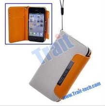 High Quality Wallet Luxury Leather Case for iPhone 4&iPhone 4S