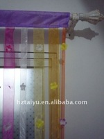 flowery string curtain in organza bands