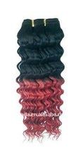Hair Dressing Salon 100% European human Deep Wave Black and Red Hair Weaving