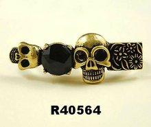 2012 fashion skull rings black stones double finger rings